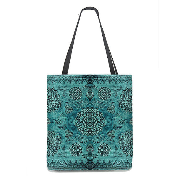 Bohemian Tote Bag in teal with floral lace pattern