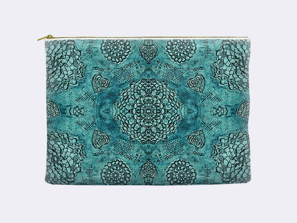 Bohemian Lace Print Zippered Pouch in teal
