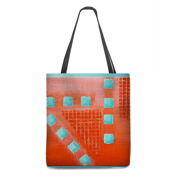 Tote Bag - Abstract Coral and Turquoise Geometric design