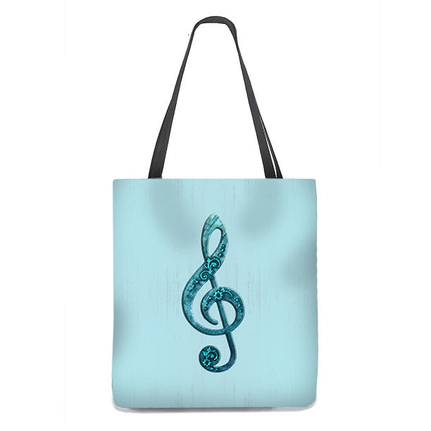 Tote Bag - Fancy Treble Clef, G-Clef in teal on aqua background