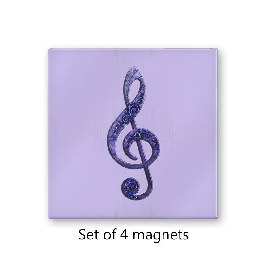 Violet Treble Clef Musical Magnet Set