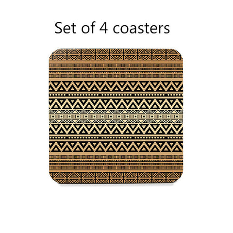 Tribal Pattern Coaster Set in mocha brown