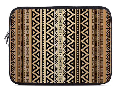 Tribal Pattern Laptop Cover in mocha brown