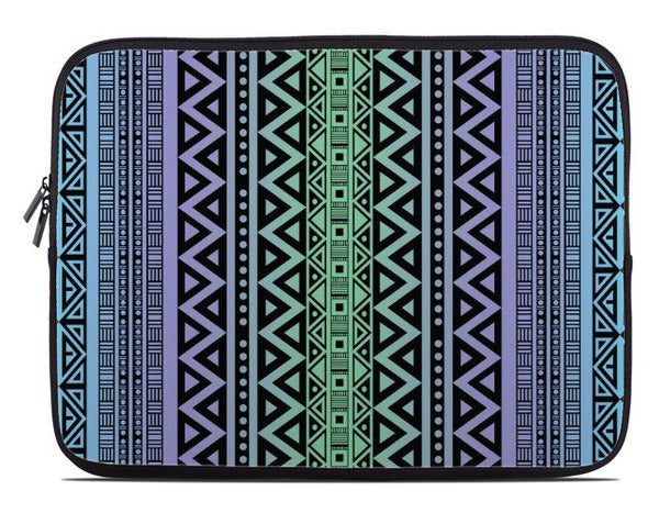 Tribal Pattern Laptop Cover in blue green