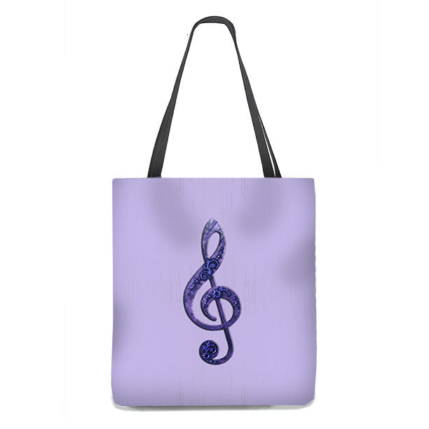 Tote Bag - Fancy Treble Clef, G-Clef in violet purple on lavender background 2