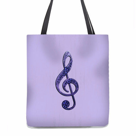 Tote Bag - Fancy Treble Clef, G-Clef in violet purple on lavender background 1