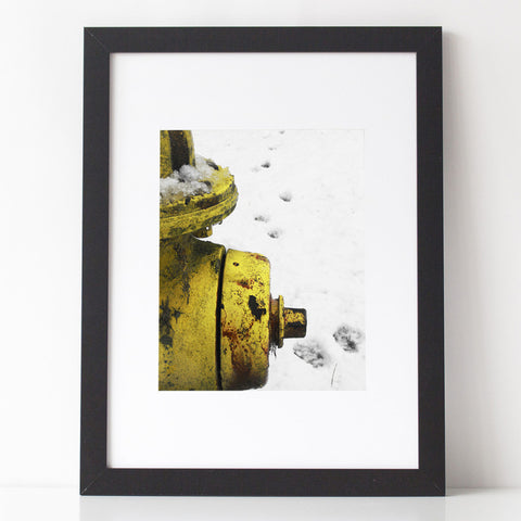 Art Print - Yellow Fire Hydrant with Paw Prints in the snow