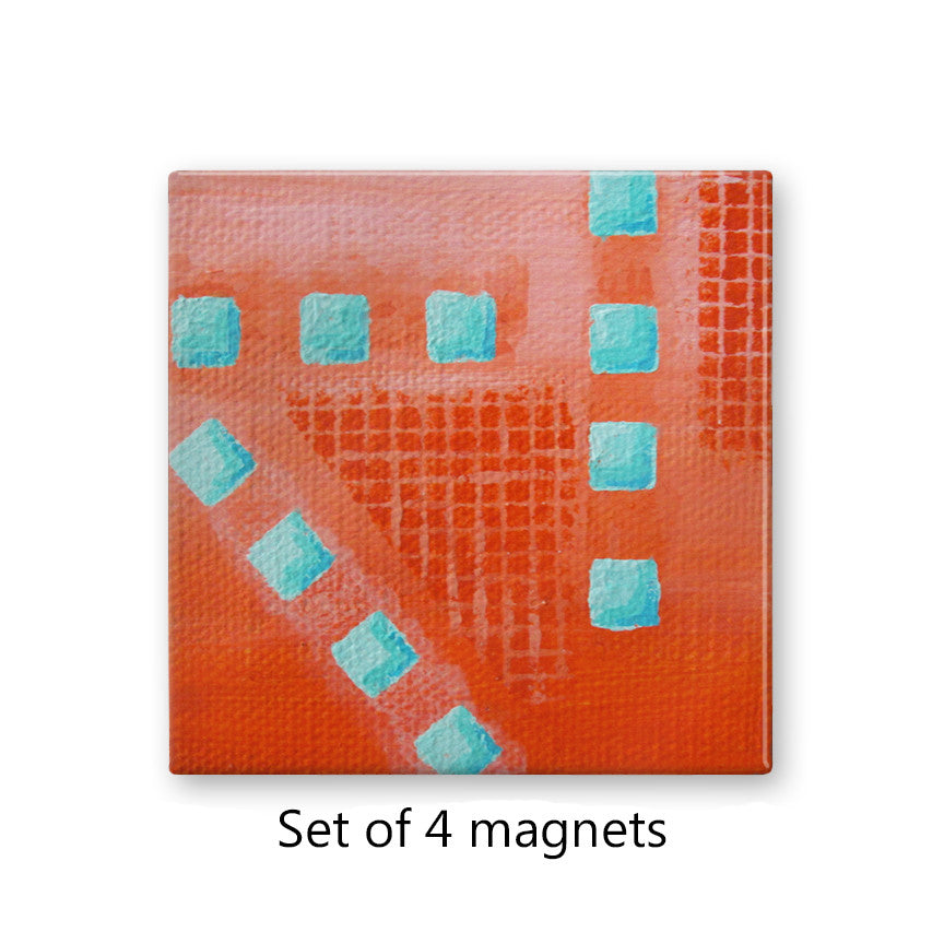 Abstract Coral and Turquoise Magnets Set