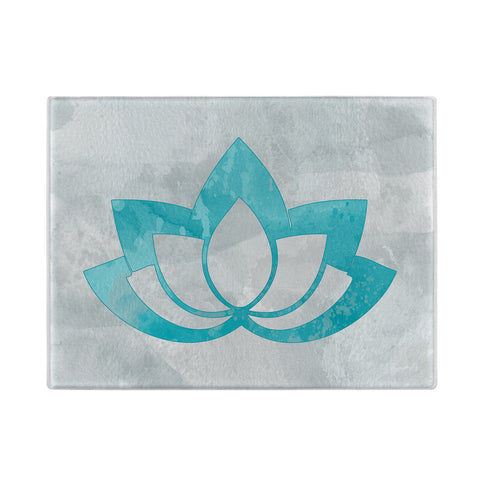 Lotus Flower Glass Cutting Board in Aqua
