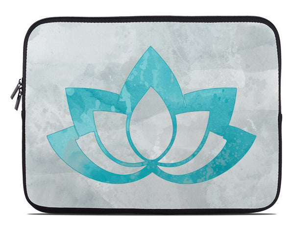 Aqua Lotus Flower on Gray Laptop Cover