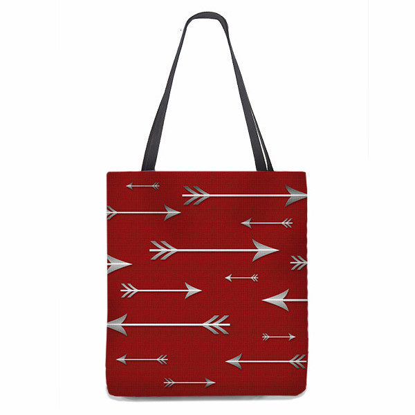 Red Tote Bag with lots of arrows