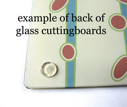 example of glass cutting board back with rubber feet