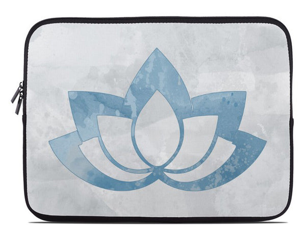 Blue Lotus Flower on Gray Laptop Cover