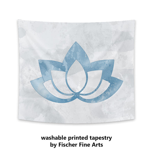 Blue Lotus Flower on Gray Wall Tapestry