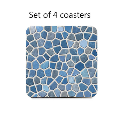 Blue Faux Mosaic Coasters Set
