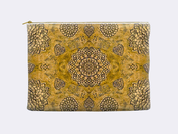 Bohemian Lace Print Zippered Pouch gold color