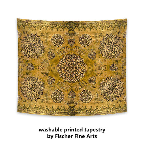 Bohemian Tapestry in gold colored print