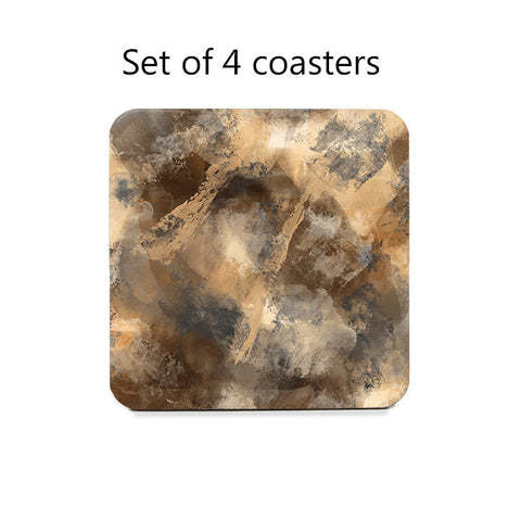 Stormy Abstract Coaster Set in brown