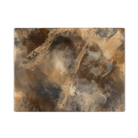 Stormy Abstract Glass Cutting Board in Brown