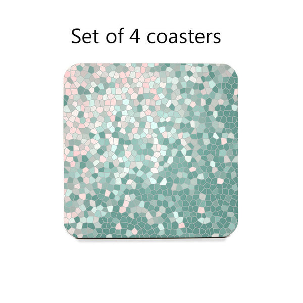 Abstract Mosaic Style Coaster Set in pink and mint
