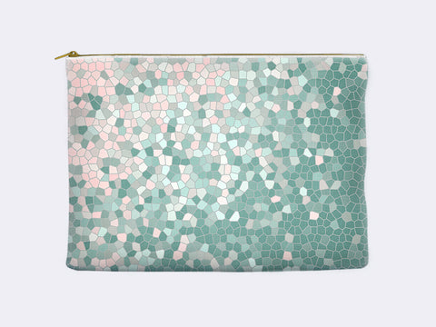 Zippered Pouch in pink and mint