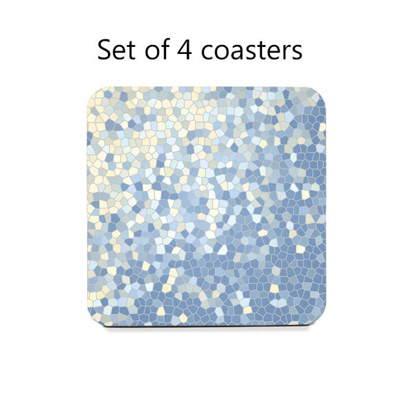 Abstract Mosaic Style Coaster Set in blue and yellow