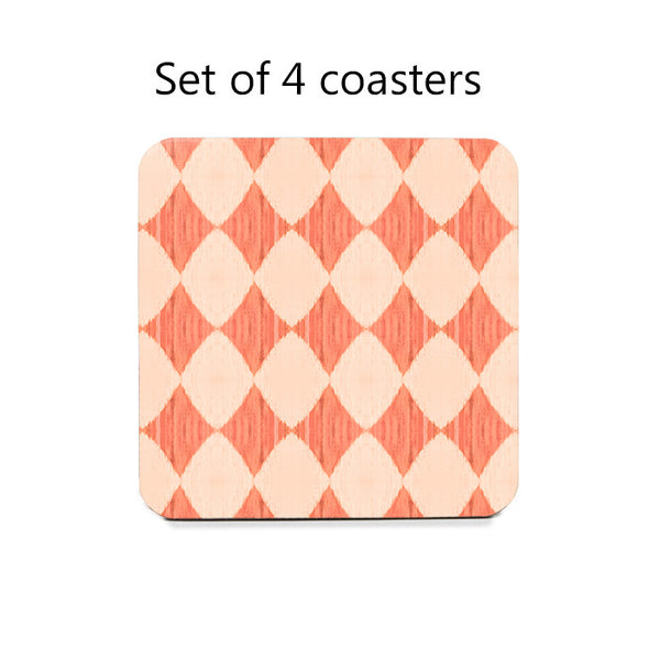 Ikat Style Diamonds Coaster Set in peach
