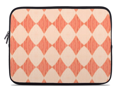 Ikat Style Diamonds Laptop Cover in peach