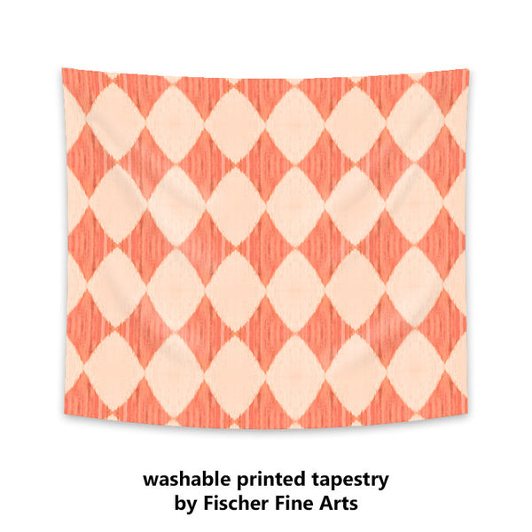 Ikat Style Wall Tapestry in coral