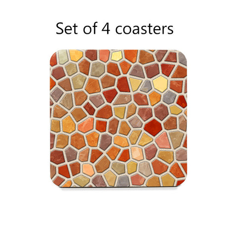 Fall Colors Faux Mosaic Coasters Set