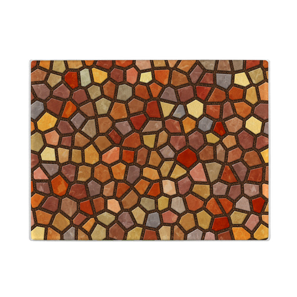 Faux Mosaic Glass Cutting Board in Orange