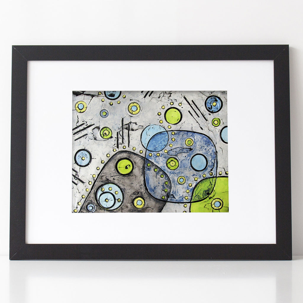 Abstract Mid Century Modern Art Print in gray, lime and blue 1