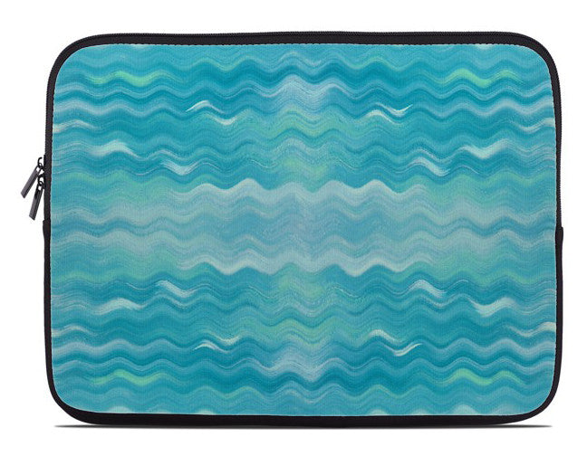 Abstract Turquoise Waves Laptop Cover