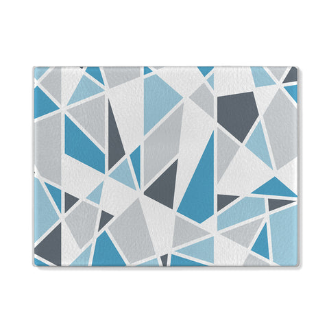 Geometric Shapes Glass Cutting Board in blue