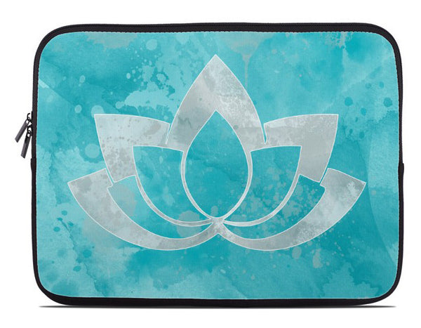 Laptop Cover with Gray Lotus Flower on Aqua