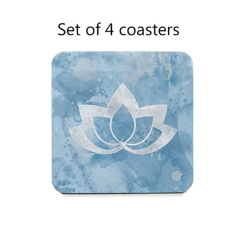 Coaster Set with Gray Lotus Flower on Colorful Backgrounds