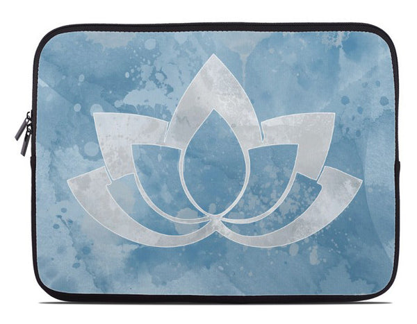 Laptop Cover with Gray Lotus Flower on Blue