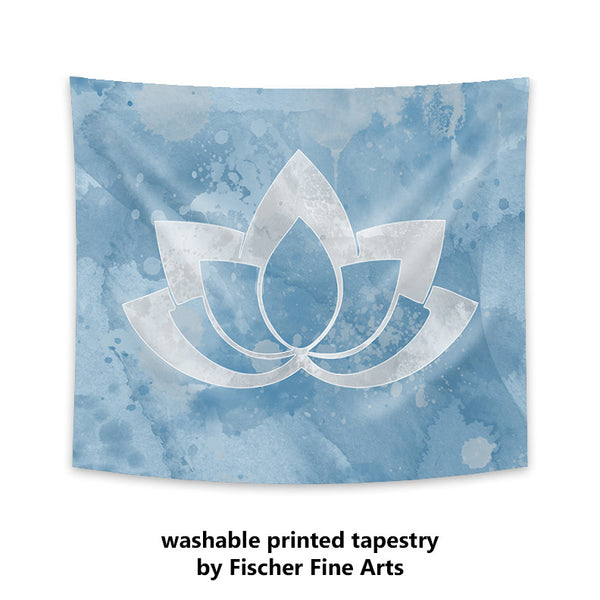 Gray Lotus Flower on Blue Wall Tapestry