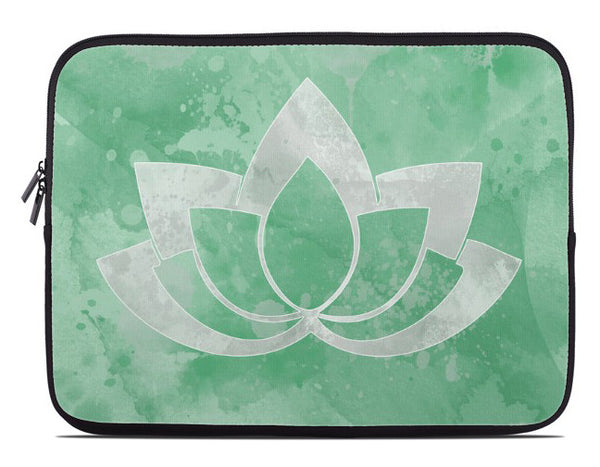 Laptop Cover with Gray Lotus Flower on green