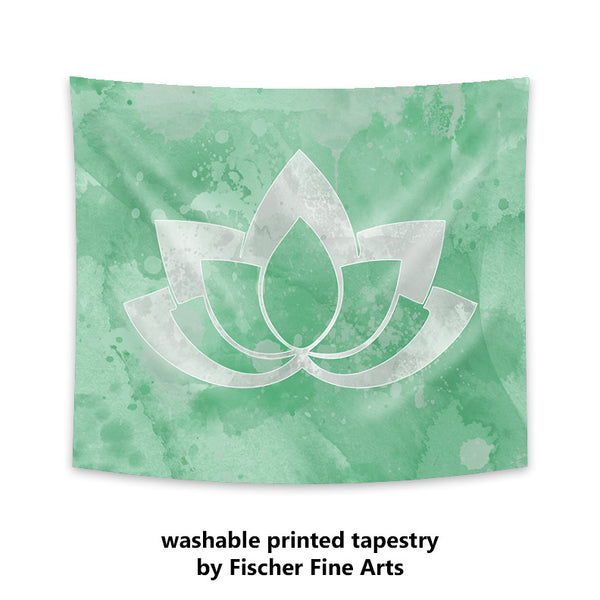 Gray Lotus Flower on Pastel Green Wall Tapestry