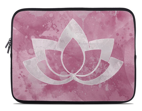 Laptop Cover with Gray Lotus Flower on pink