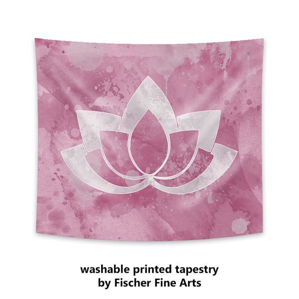 Gray Lotus Flower on Pink Wall Tapestry