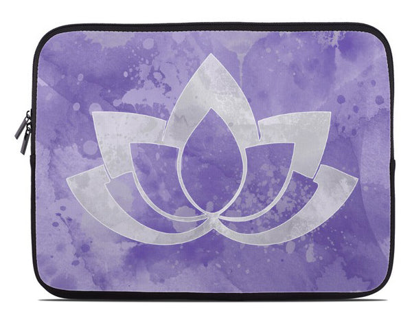 Laptop Cover with Gray Lotus Flower on purple