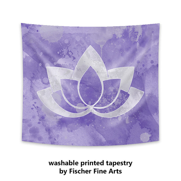 Gray Lotus Flower on Purple Wall Tapestry
