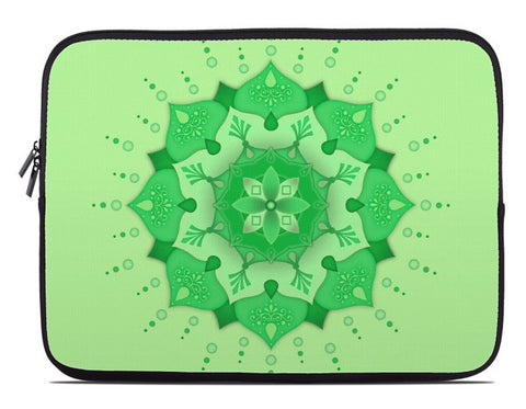 Floral Mandala Laptop Cover in lime green
