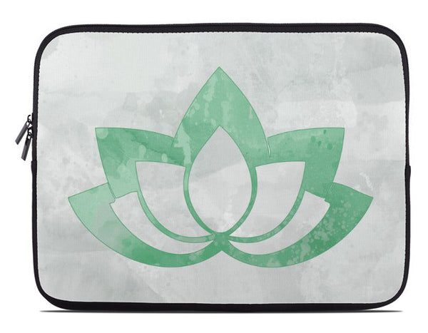 Green Lotus Flower on Gray Laptop Cover
