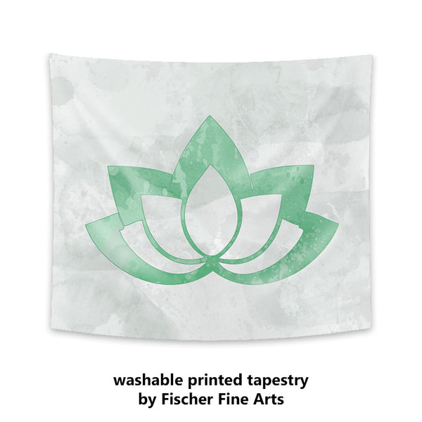 Green Lotus Flower on Gray Wall Tapestry