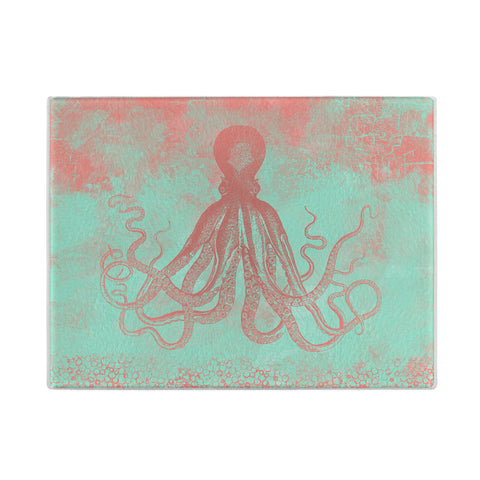 Octopus Glass Cutting Board in coral and mint