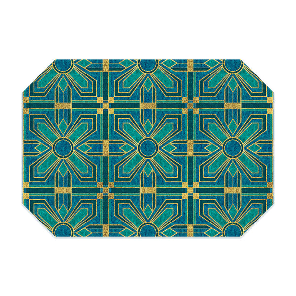 Art deco placemat, with teal