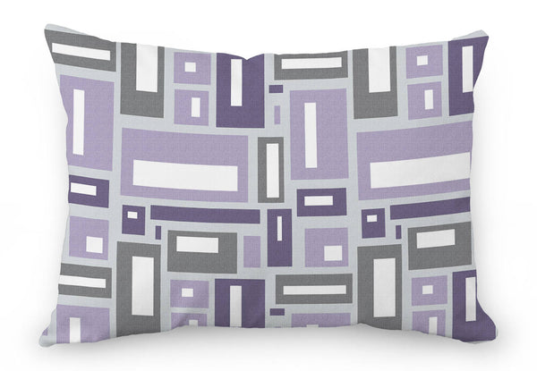 Geometric pillow cover, purple and gray rectangles
